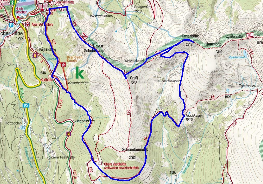 Grünsee - Schoberriegel - Gruft - Kaserhöhe - Hochkaser - Sam - Grünsee (c) kompass.de